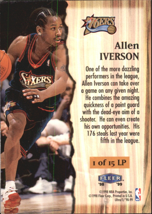 1998-99 Ultra Leading Performers #1 Allen Iverson back image