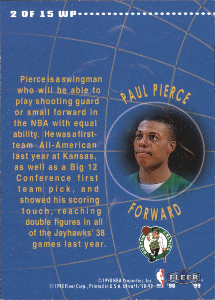 1998-99 Ultra World Premiere #2 Paul Pierce back image