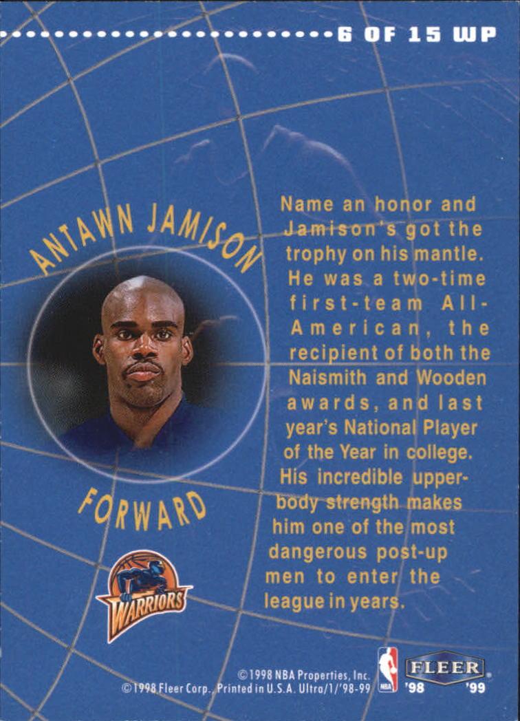 1998-99 Ultra World Premiere #6 Antawn Jamison back image