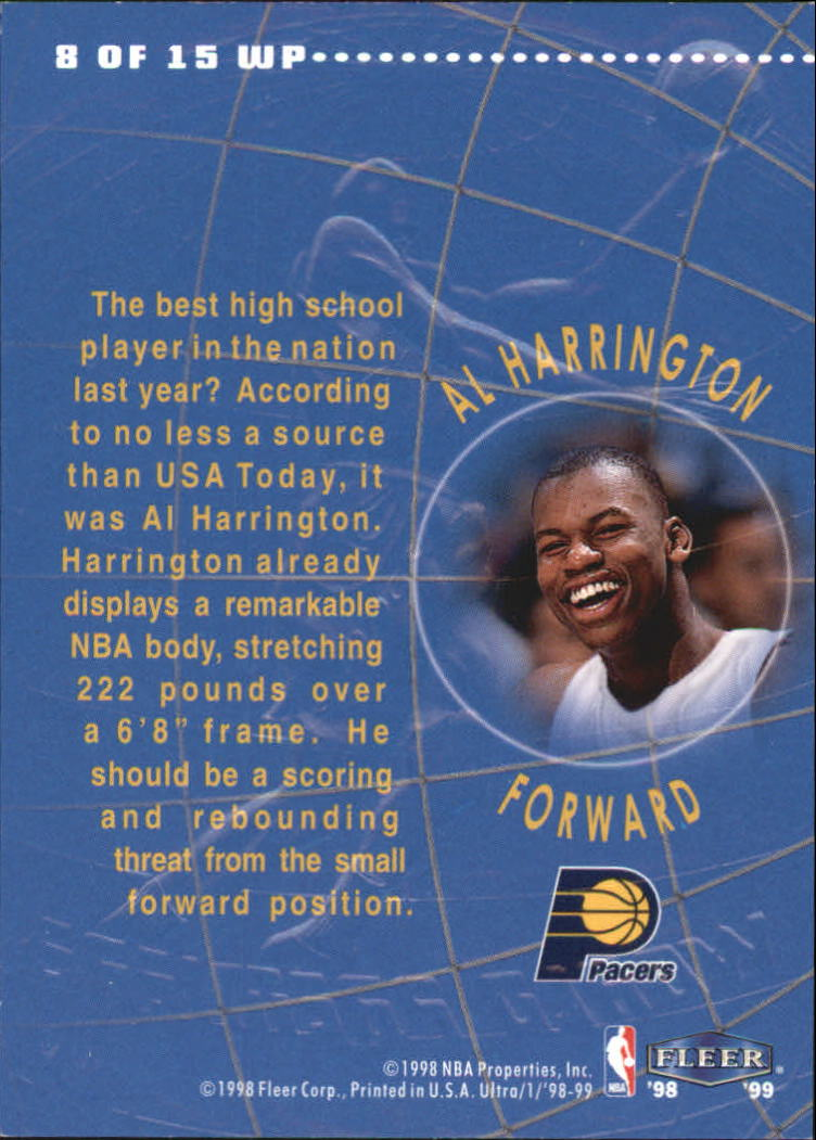 1998-99 Ultra World Premiere #8 Al Harrington back image