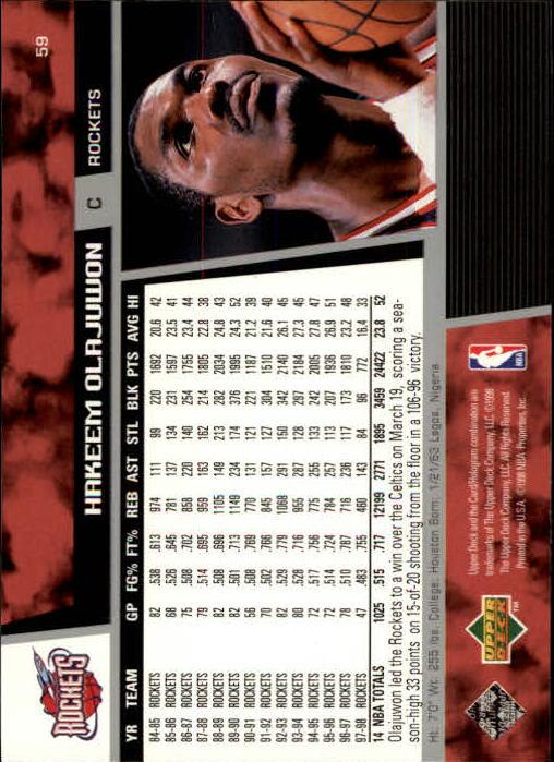 1998-99 Upper Deck #59 Hakeem Olajuwon back image