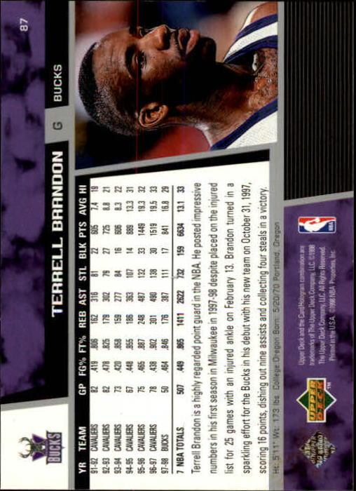 1998-99 Upper Deck #87 Terrell Brandon back image