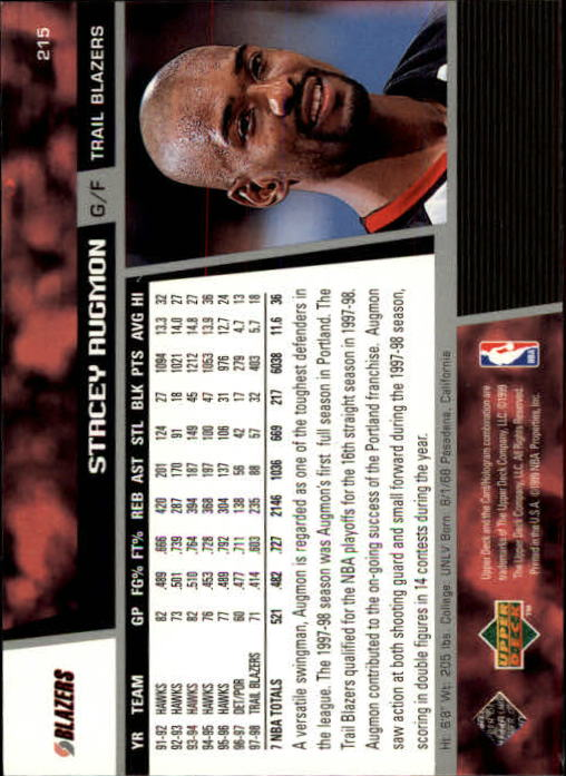 1998-99 Upper Deck #215 Stacey Augmon back image