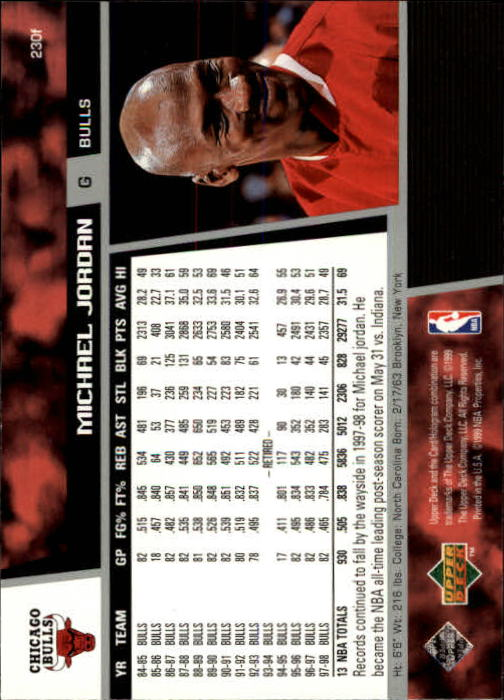 1998-99 Upper Deck #230F Michael Jordan back image