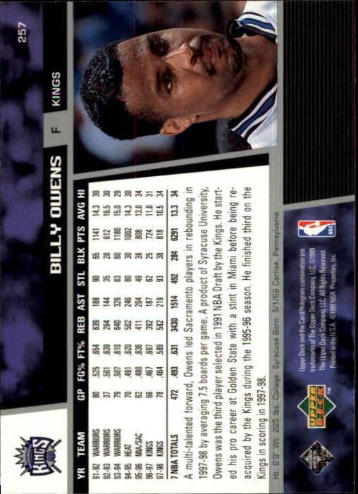 1998-99 Upper Deck #257 Billy Owens back image