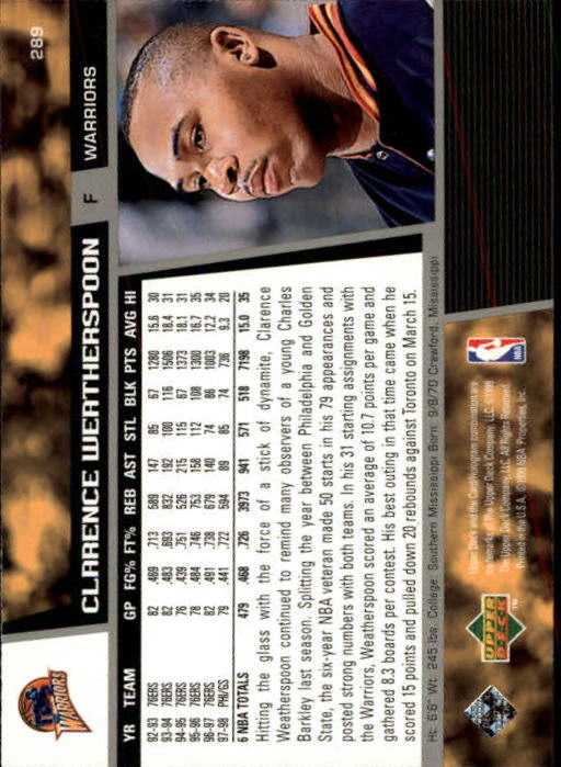 1998-99 Upper Deck #289 Clarence Weatherspoon back image