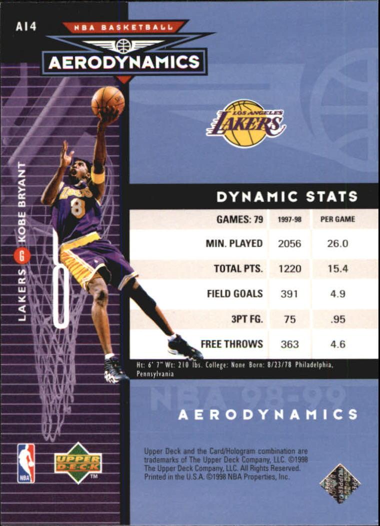1998-99 Upper Deck AeroDynamics #A14 Kobe Bryant back image