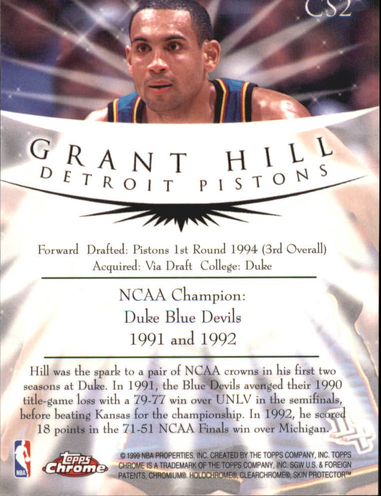 1998-99 Topps Chrome Champion Spirit #CS2 Grant Hill back image
