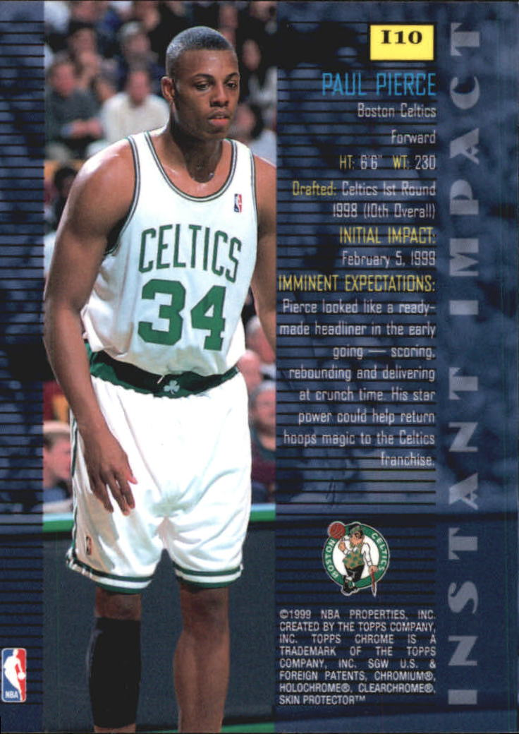 1998-99 Topps Chrome Instant Impact #I10 Paul Pierce back image