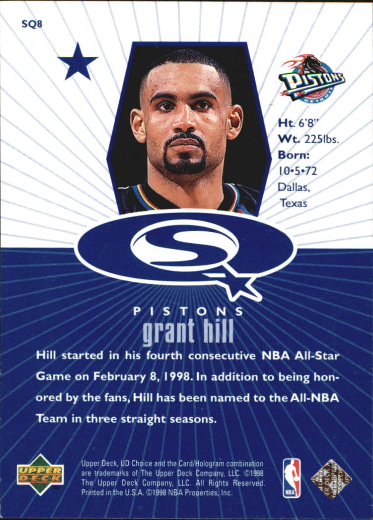 1998-99 UD Choice StarQuest Blue #SQ8 Grant Hill back image