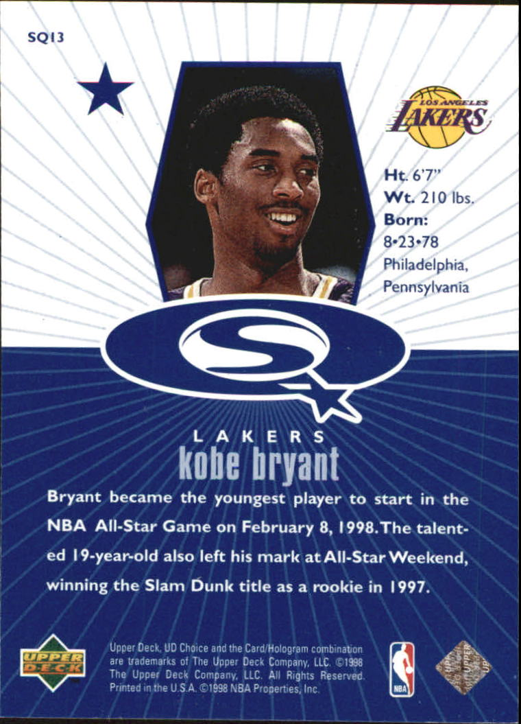 1998-99 UD Choice StarQuest Blue #SQ13 Kobe Bryant back image
