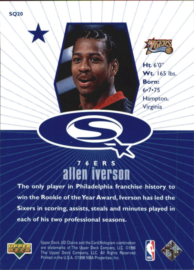 1998-99 UD Choice StarQuest Blue #SQ20 Allen Iverson back image