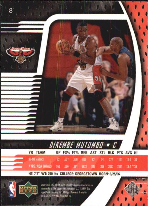 1998-99 UD Ionix #8 Dikembe Mutombo back image