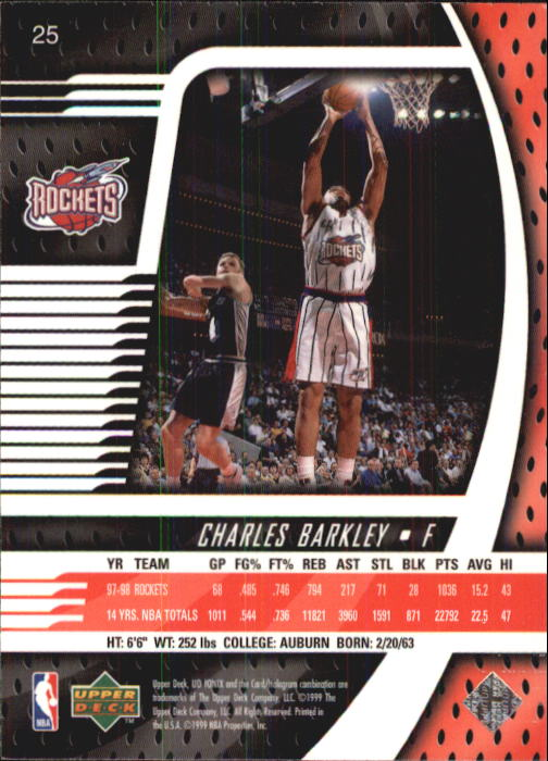 1998-99 UD Ionix #25 Charles Barkley back image