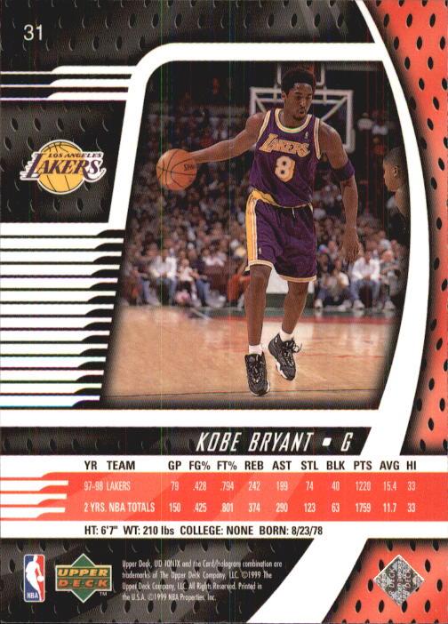 1998-99 UD Ionix #31 Kobe Bryant back image