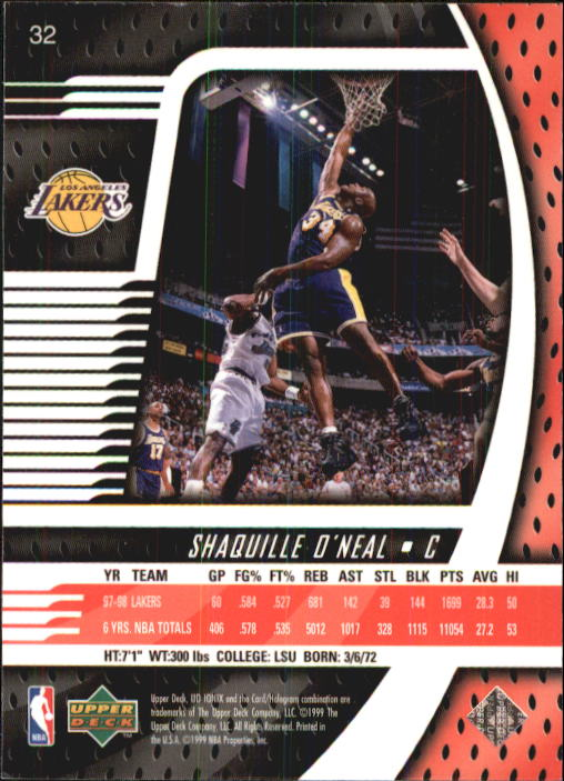 1998-99 UD Ionix #32 Shaquille O'Neal back image
