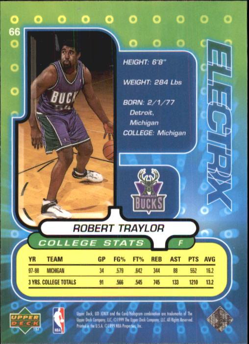 1998-99 UD Ionix #66 Robert Traylor RC back image