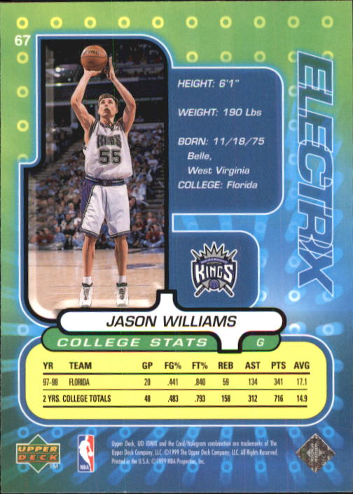1998-99 UD Ionix #67 Jason Williams RC back image