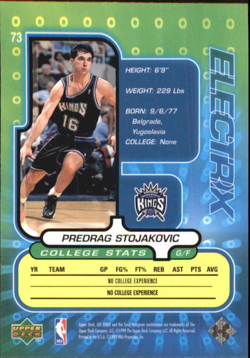 1998-99 UD Ionix #73 Peja Stojakovic RC back image