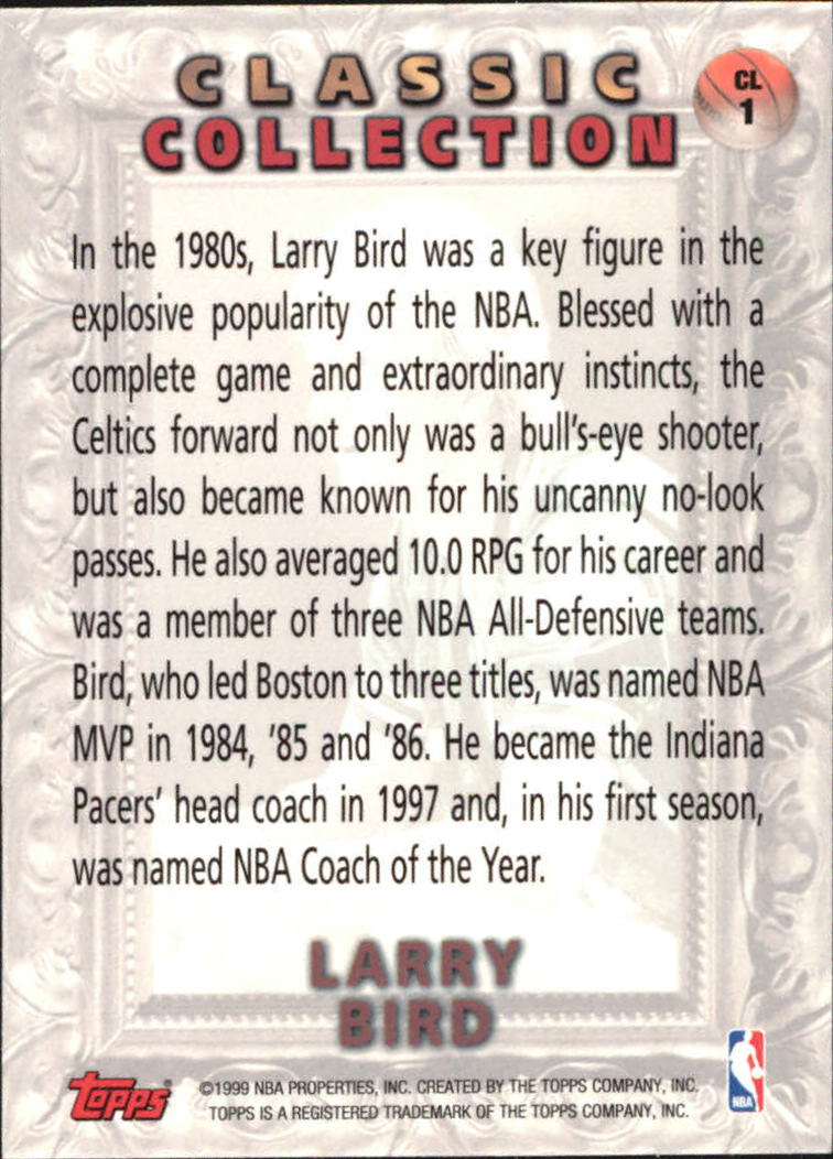 1998-99 Topps Classic Collection #CL1 Larry Bird back image