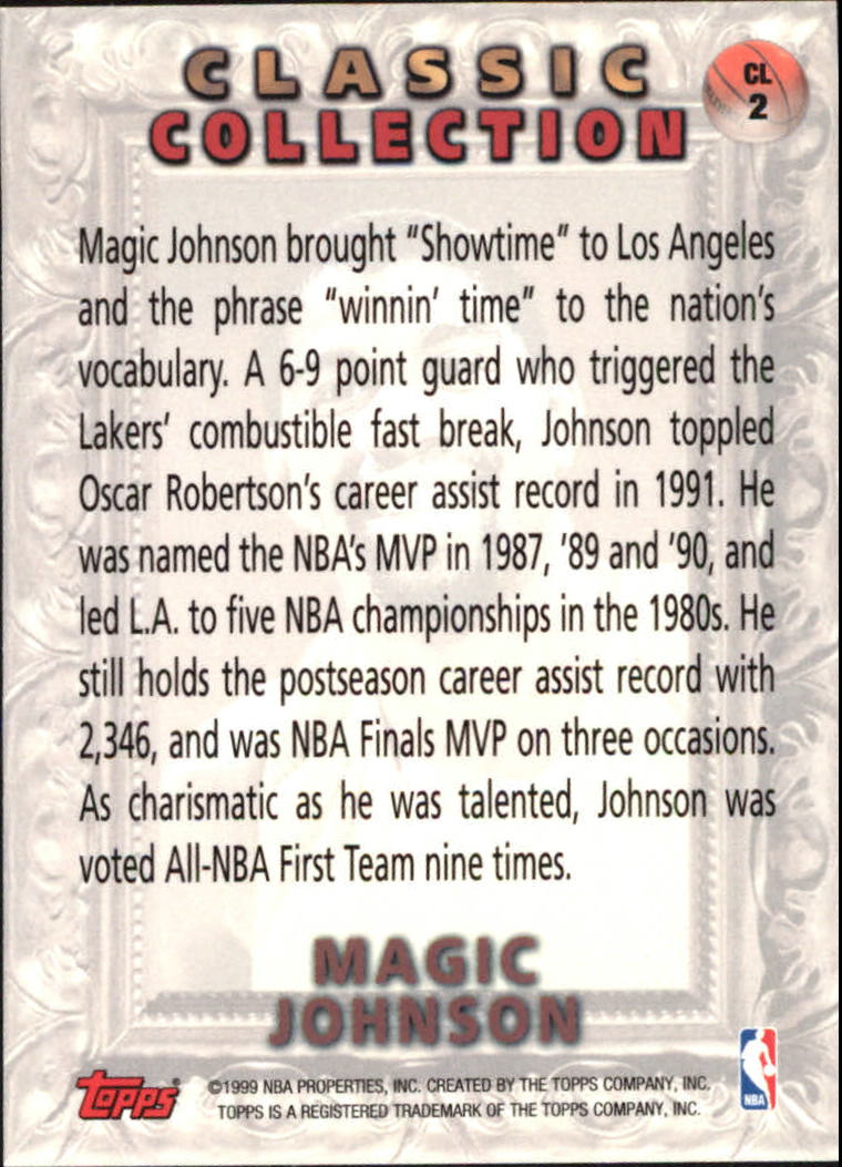 1998-99 Topps Classic Collection #CL2 Magic Johnson back image