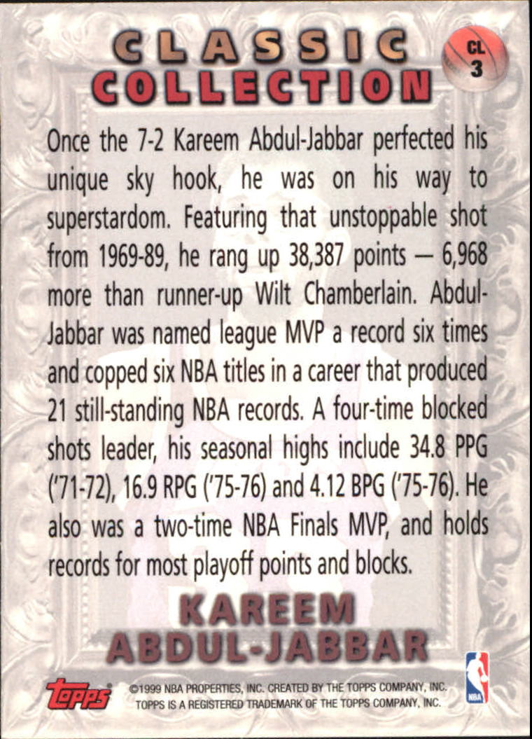 1998-99 Topps Classic Collection #CL3 Kareem Abdul-Jabbar back image