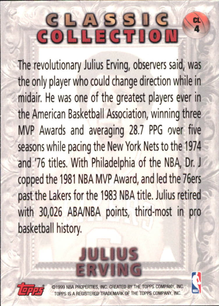 1998-99 Topps Classic Collection #CL4 Julius Erving back image