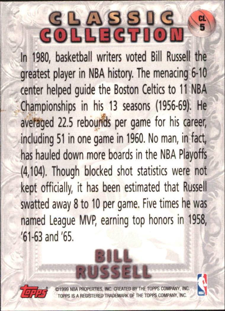 1998-99 Topps Classic Collection #CL5 Bill Russell back image