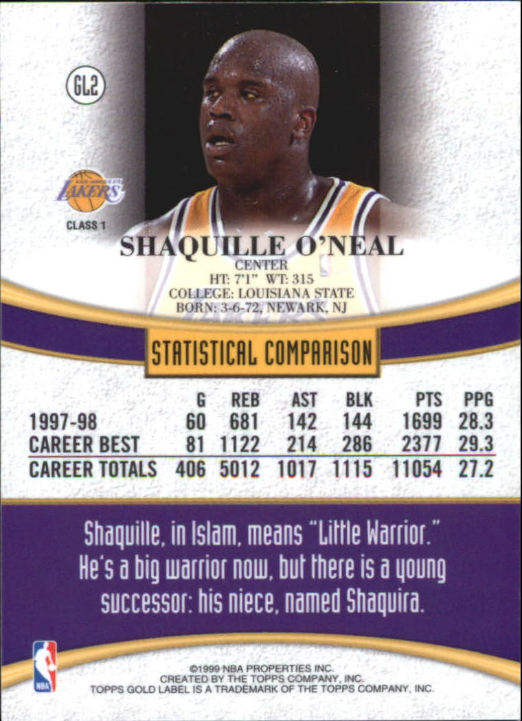 1998-99 Topps Gold Label #GL2 Shaquille O'Neal back image