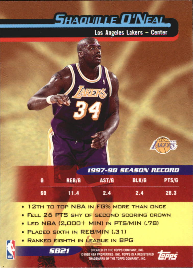 1998-99 Topps Season's Best #SB21 Shaquille O'Neal back image