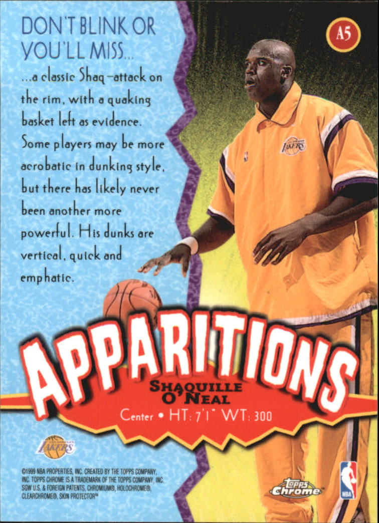 1998-99 Topps Chrome Apparitions #A5 Shaquille O'Neal back image