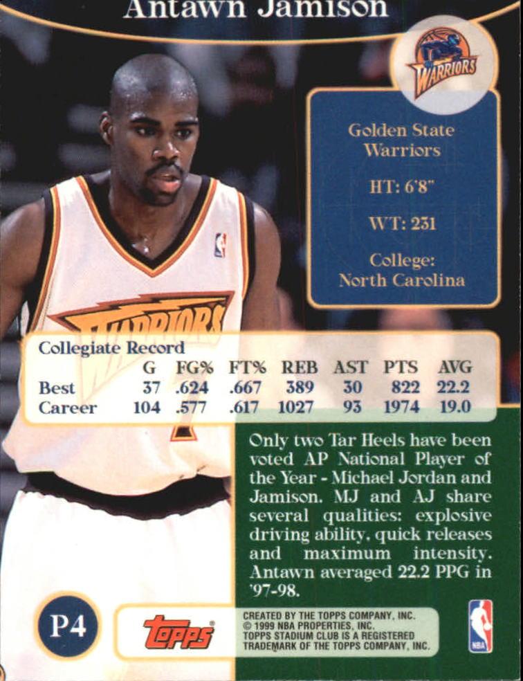 1998-99 Stadium Club Prime Rookies #P4 Antawn Jamison back image