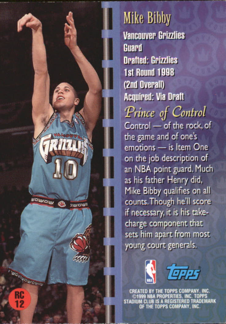 1998-99 Stadium Club Royal Court #RC12 Mike Bibby back image