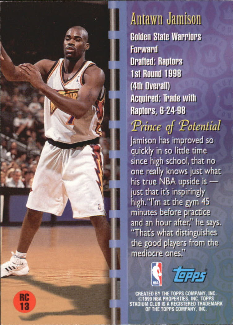 1998-99 Stadium Club Royal Court #RC13 Antawn Jamison back image