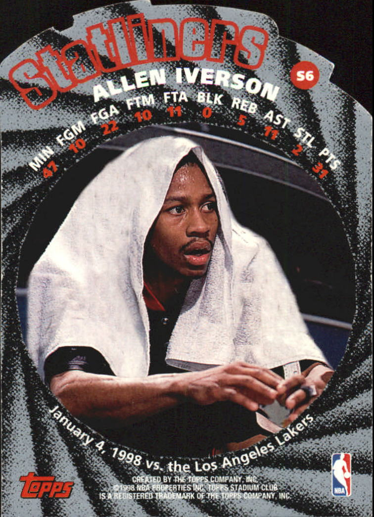 1998-99 Stadium Club Statliners #S6 Allen Iverson back image