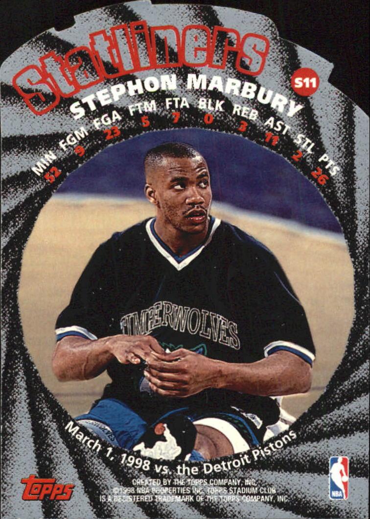 1998-99 Stadium Club Statliners #S11 Stephon Marbury back image