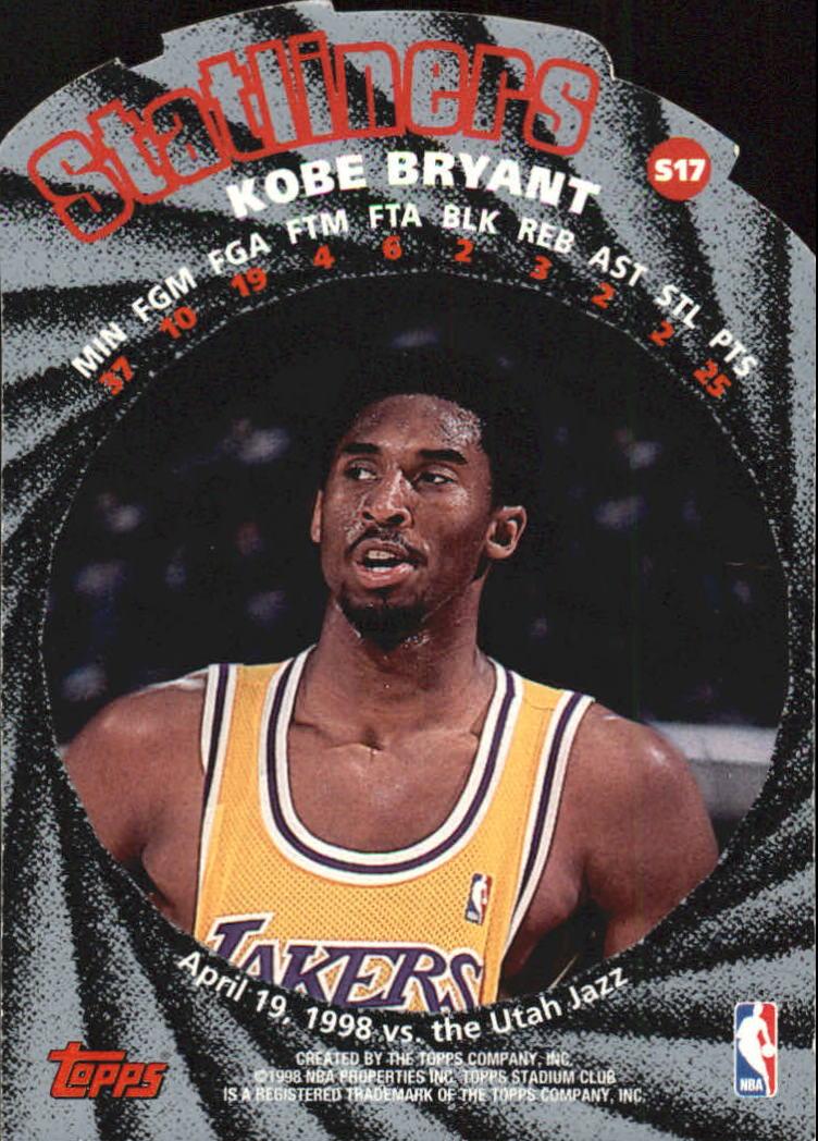 1998-99 Stadium Club Statliners #S17 Kobe Bryant back image