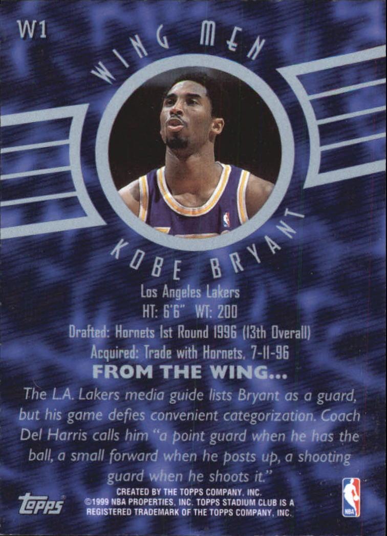 1998-99 Stadium Club Wing Men #W1 Kobe Bryant back image