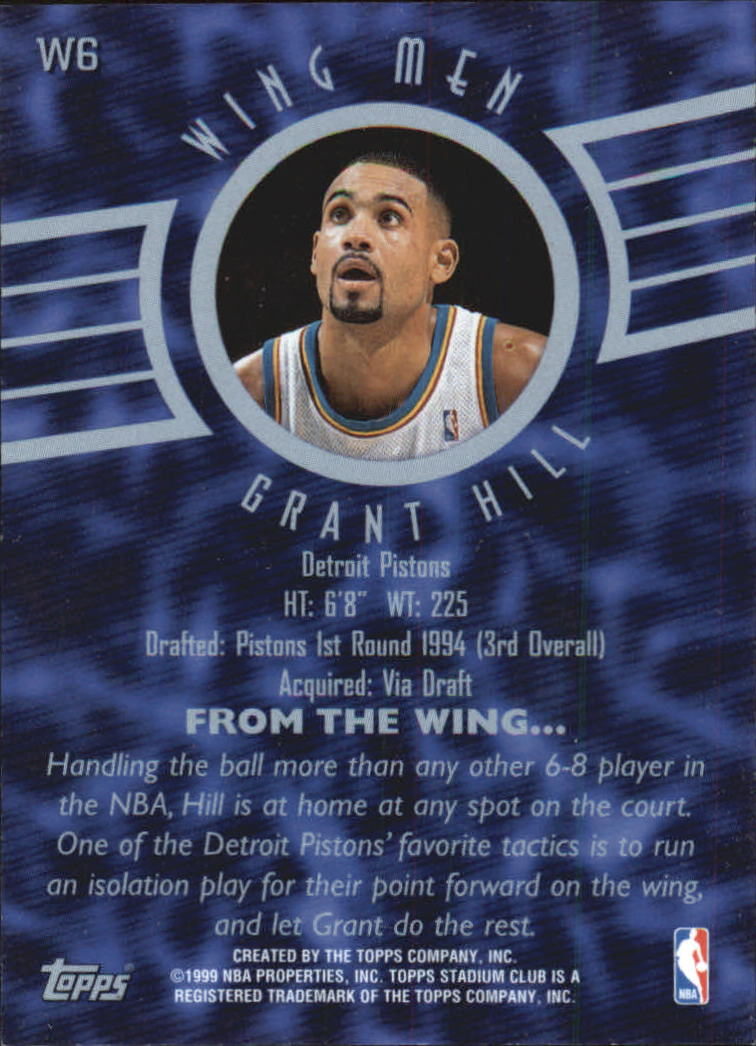 1998-99 Stadium Club Wing Men #W6 Grant Hill back image