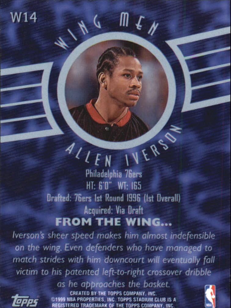 1998-99 Stadium Club Wing Men #W14 Allen Iverson back image