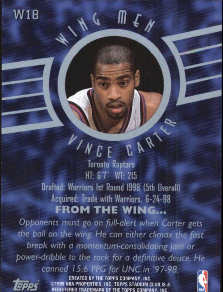 1998-99 Stadium Club Wing Men #W18 Vince Carter back image
