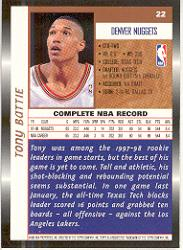 1998-99 Topps #22 Tony Battie back image