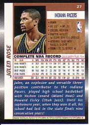 1998-99 Topps #27 Jalen Rose back image