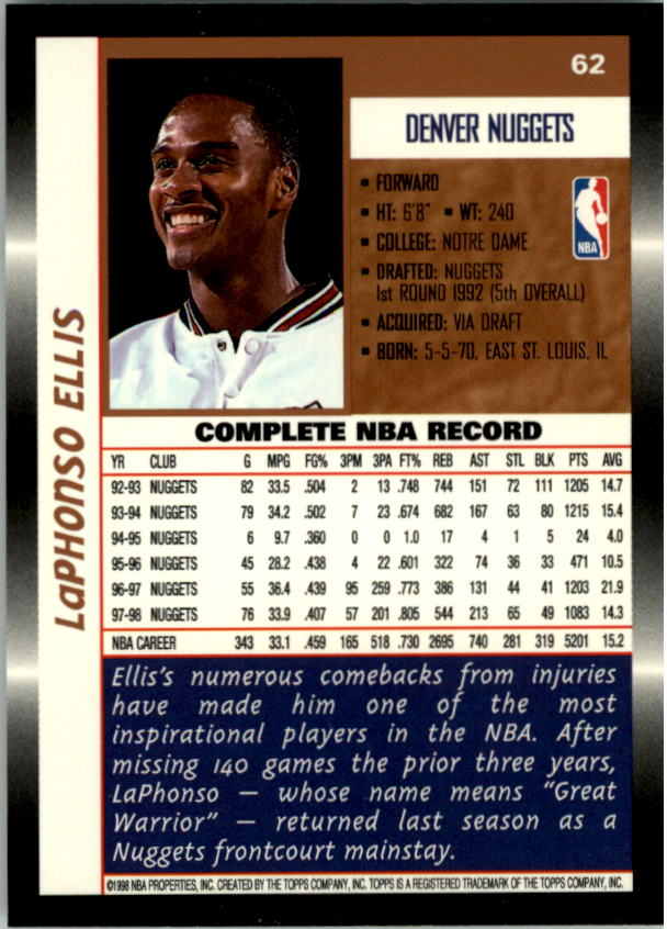 1998-99 Topps #62 LaPhonso Ellis back image