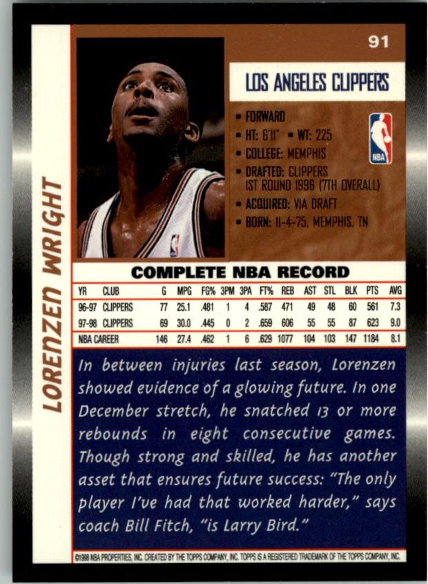 1998-99 Topps #91 Lorenzen Wright back image