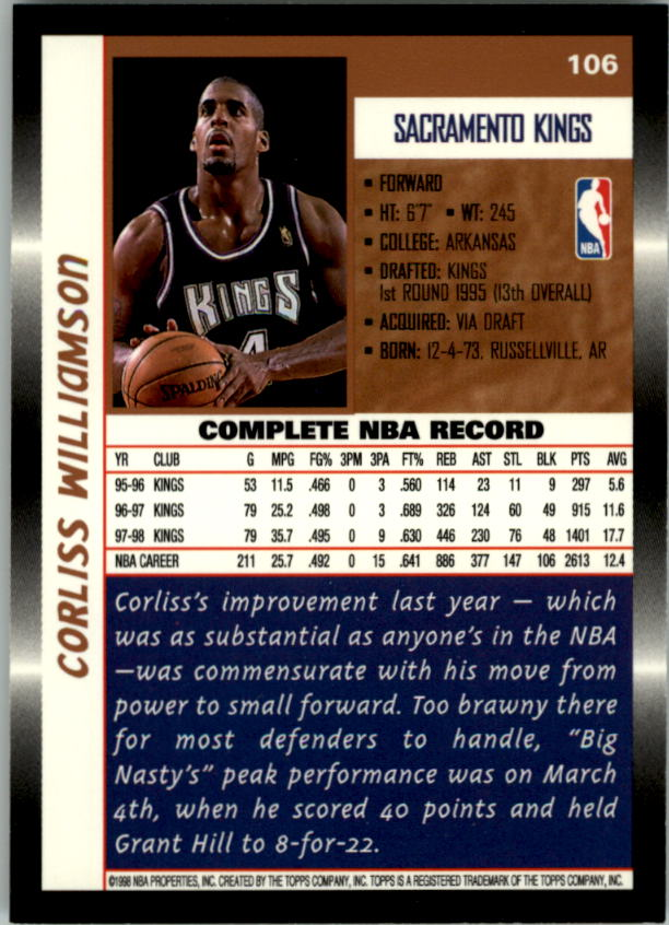 1998-99 Topps #106 Corliss Williamson back image