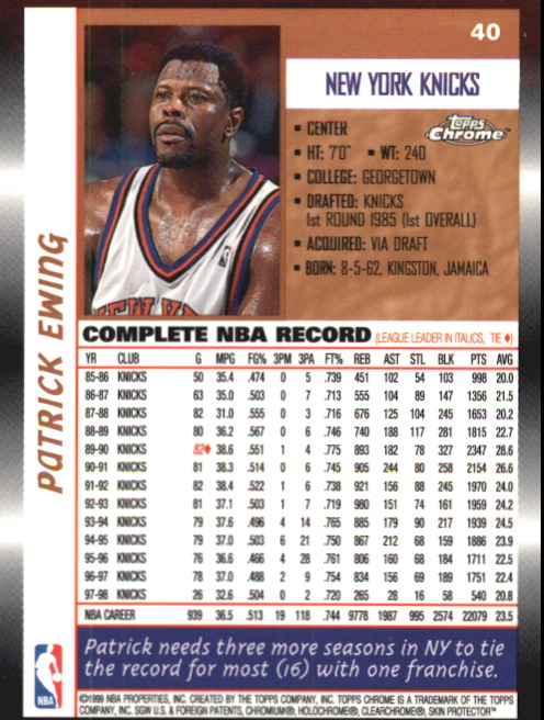 1998-99 Topps Chrome Preview #40 Patrick Ewing back image