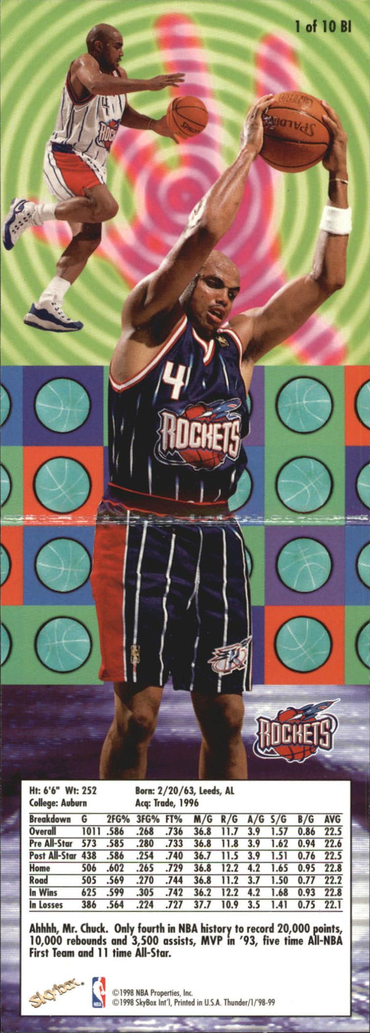1998-99 SkyBox Thunder Bringin' It #1 Charles Barkley back image
