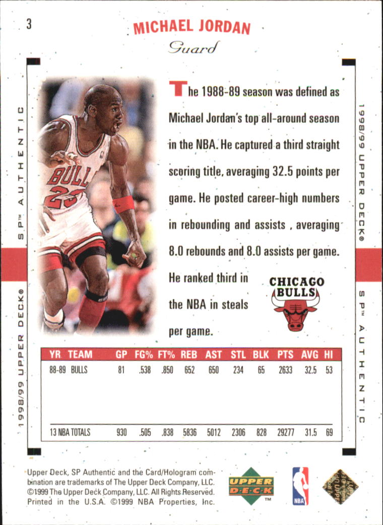 1998-99 SP Authentic #2 Michael Jordan back image