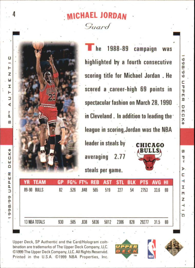 1998-99 SP Authentic #3 Michael Jordan back image